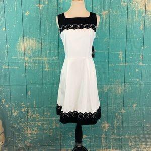 New York & Co Sleeveless White & Black Dress